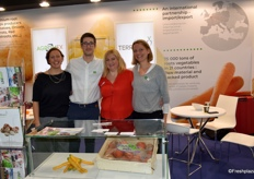 Elodie Morice, Paul Bouchery, Rosine Feledziak et Alice Leterme sur le stand d'Agromex, Terraveg et Unibio au Fruit Attraction